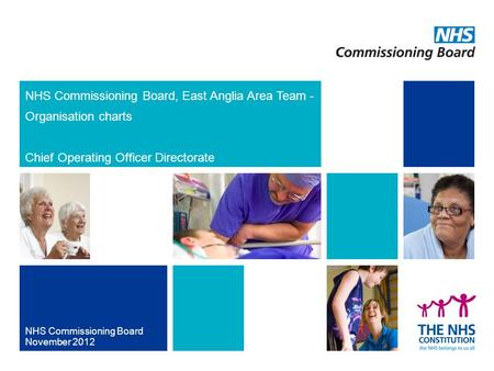 NHS Commissioning Board, East Anglia Area Team - Organisation charts Chief Operating Officer Directorate NHS Commissioning Board November 2012.