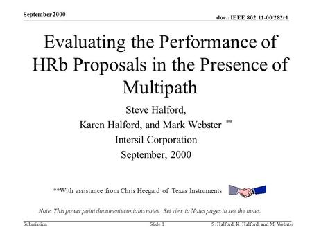 Doc.: IEEE 802.11-00/282r1 Submission September 2000 S. Halford, K. Halford, and M. WebsterSlide 1 Evaluating the Performance of HRb Proposals in the Presence.