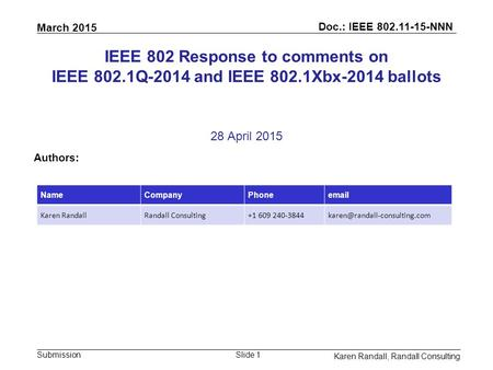 March 2015 Doc.: IEEE 802.11-15-NNN Submission Karen Randall, Randall Consulting Slide 1 IEEE 802 Response to comments on IEEE 802.1Q-2014 and IEEE 802.1Xbx-2014.
