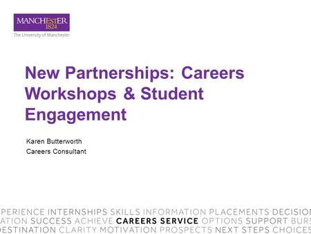 New Partnerships: Careers Workshops & Student Engagement Karen Butterworth Careers Consultant.