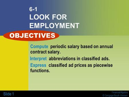 OBJECTIVES 6-1 LOOK FOR EMPLOYMENT