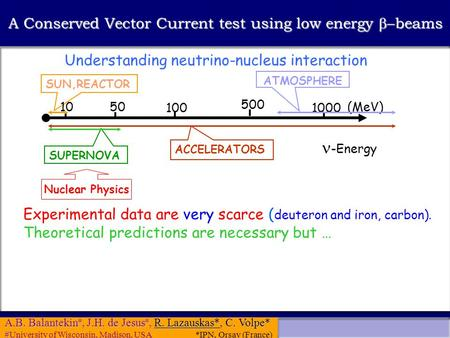 A.B. Balantekin #, J.H. de Jesus #, R. Lazauskas*, C. Volpe* # #University of Wisconsin, Madison, USA *IPN, Orsay (France) A Conserved Vector Current test.