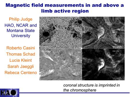Magnetic field measurements in and above a limb active region Philip Judge HAO, NCAR and Montana State University Roberto Casini Thomas Schad Lucia Kleint.