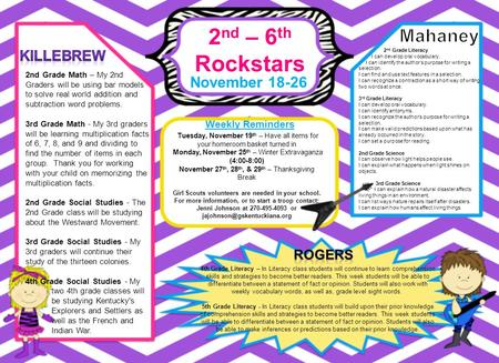 2 nd – 6 th Rockstars November 18-26 Weekly Reminders 4th Grade Literacy – In Literacy class students will continue to learn comprehension skills and strategies.
