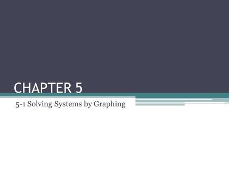 CHAPTER 5 5-1 Solving Systems by Graphing. Objectives Identify solutions of linear equations in two variables. Solve systems of linear equations in two.
