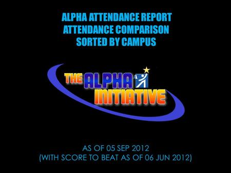 ALPHA ATTENDANCE REPORT ATTENDANCE COMPARISON SORTED BY CAMPUS AS OF 05 SEP 2012 (WITH SCORE TO BEAT AS OF 06 JUN 2012)