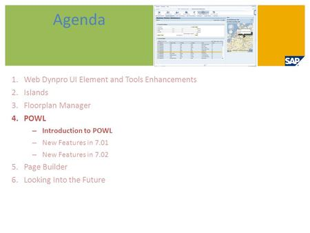Agenda Web Dynpro UI Element and Tools Enhancements Islands