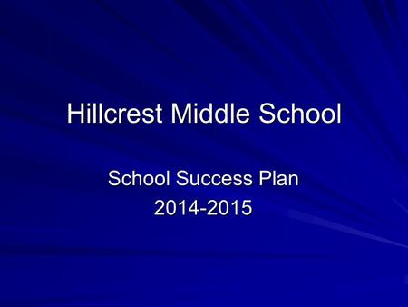 Hillcrest Middle School School Success Plan 2014-2015.