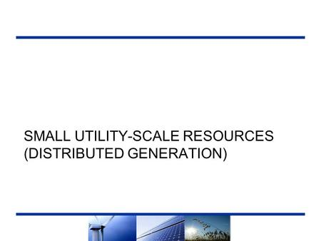 SMALL UTILITY-SCALE RESOURCES (DISTRIBUTED GENERATION) 1.