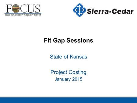 State of Kansas Project Costing January 2015