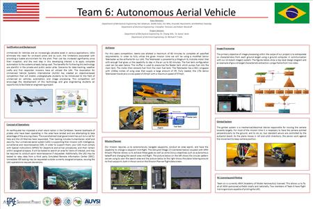 Team 6: Autonomous Aerial Vehicle Team Members Department of Mechanical Engineering: Ken Anderson, Arielle Duen, Eric Milo, Ernandes Nascimento and Matthew.