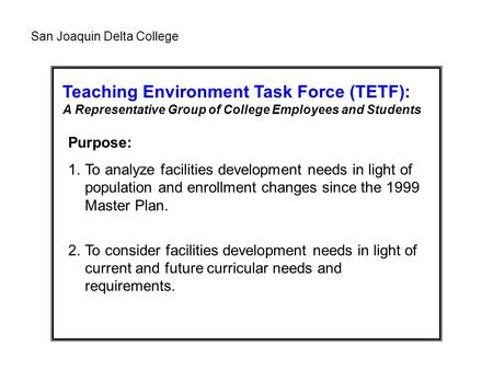 Teaching Environment Task Force (TETF): A Representative Group of College Employees and Students Purpose: 1.To analyze facilities development needs in.