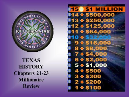TEXAS HISTORY Chapters 21-23 Millionaire Review A:B: To help Mexico regain Texas, Mexico & New Mexico To help Mexico regain Texas, Arizona & New Mexico.
