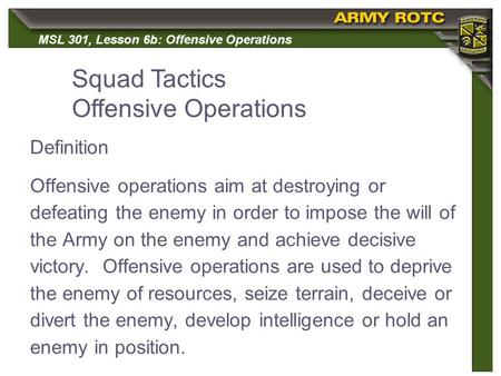 Squad Tactics Offensive Operations