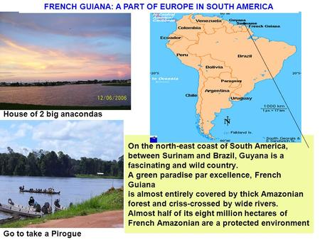 On the north-east coast of South America, between Surinam and Brazil, Guyana is a fascinating and wild country. A green paradise par excellence, French.