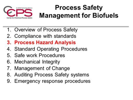 Process Safety Management for Biofuels 1.Overview of Process Safety 2.Compliance with standards 3.Process Hazard Analysis 4.Standard Operating Procedures.