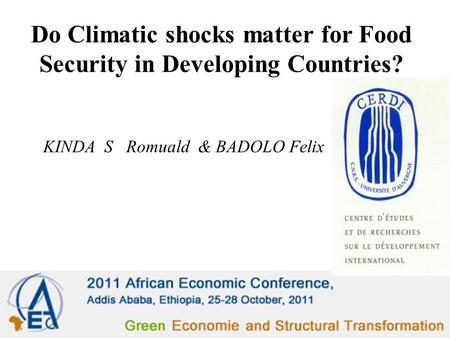 Do Climatic shocks matter for Food Security in Developing Countries? KINDA S Romuald & BADOLO Felix.