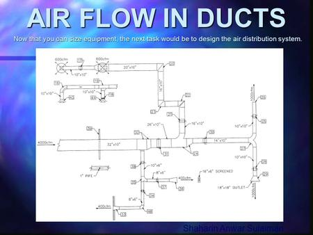 AIR FLOW IN DUCTS Shaharin Anwar Sulaiman