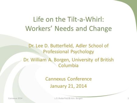 Life on the Tilt-a-Whirl: Workers' Needs and Change Dr. Lee D. Butterfield, Adler School of Professional Psychology Dr. William A. Borgen, University of.