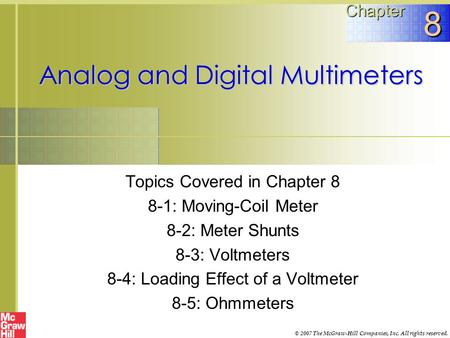 Analog and Digital Multimeters