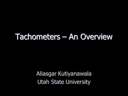 Tachometers – An Overview