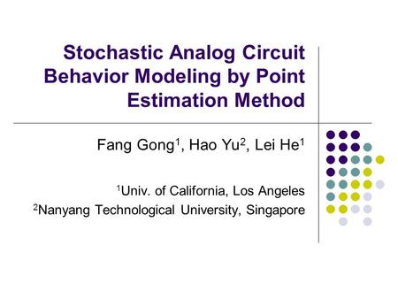 Stochastic Analog Circuit Behavior Modeling by Point Estimation Method