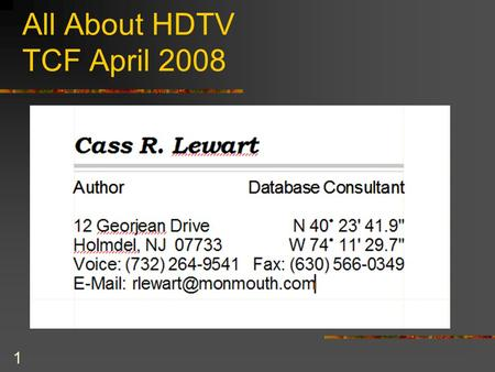 "1 All About HDTV TCF April 2008. They Look Great 50"" Vizio."