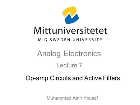 Op-amp Circuits and Active Filters