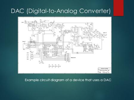 DAC (Digital-to-Analog Converter) Example circuit diagram of a device that uses a DAC.