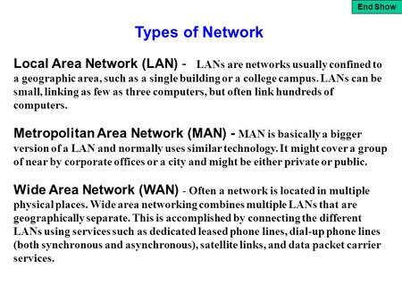 End Show Local Area Network (LAN) - LANs are networks usually confined to a geographic area, such as a single building or a college campus. LANs can be.