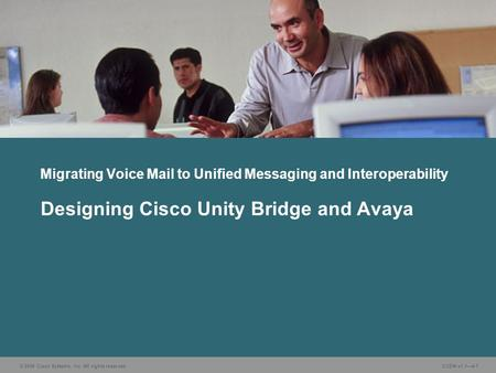 © 2006 Cisco Systems, Inc. All rights reserved. CUDN v1.1—4-1 Designing Cisco Unity Bridge and Avaya Migrating Voice Mail to Unified Messaging and Interoperability.