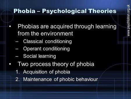 Preparedness theory of phobias