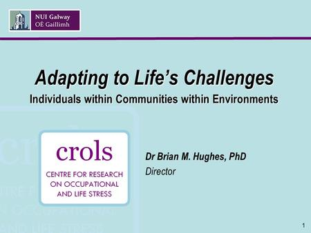 1 Adapting to Life's Challenges Individuals within Communities within Environments Dr Brian M. Hughes, PhD Director.