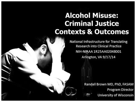 Alcohol Misuse: Criminal Justice Contexts & Outcomes National Infrastructure for Translating Research into Clinical Practice NIH-NIAAA 1R25AA02048001 Arlington,