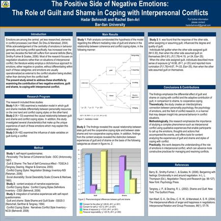 TEMPLATE DESIGN © 2008 www.PosterPresentations.com The Positive Side of Negative Emotions: The Role of Guilt and Shame in Coping with Interpersonal Conflicts.