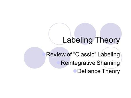 "Labeling Theory Review of ""Classic"" Labeling Reintegrative Shaming Defiance Theory."