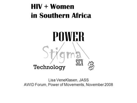 Lisa VeneKlasen, JASS AWID Forum, Power of Movements, November 2008.