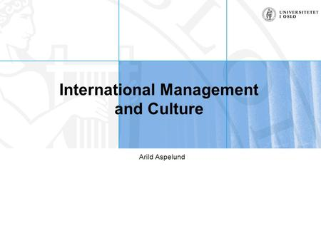International Management and Culture