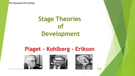 Stage Theories of Development Piaget – Kohlberg - Erikson Developmental Psychology Dr. Mohsen Lotfy Ahmed 11.