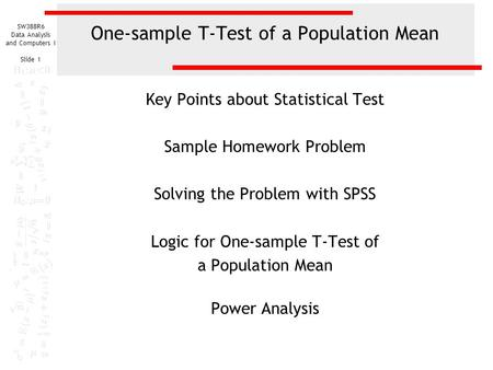 One-sample T-Test of a Population Mean