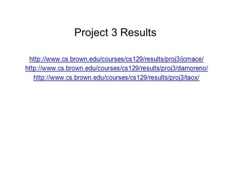 Project 3 Results