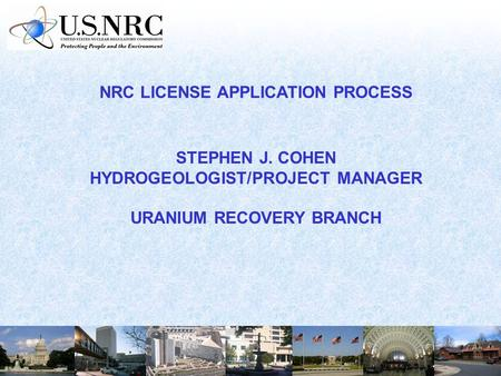NRC LICENSE APPLICATION PROCESS