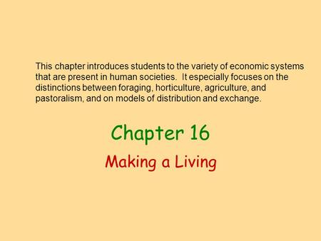 Chapter 16 Making a Living