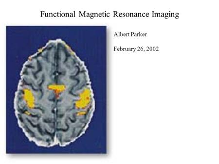 Functional Magnetic Resonance Imaging Albert Parker February 26, 2002.