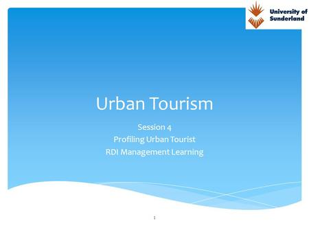 Session 4 Profiling Urban Tourist RDI Management Learning