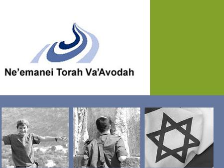 Ne'emanei Torah Va'Avodah Committed to Halachic Judaism, Tolerance, Democracy and Jewish Values in Israeli Life.