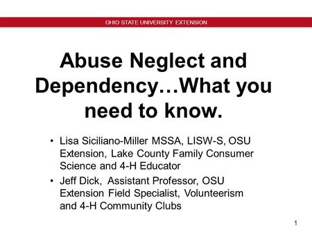 Abuse Neglect and Dependency…What you need to know.