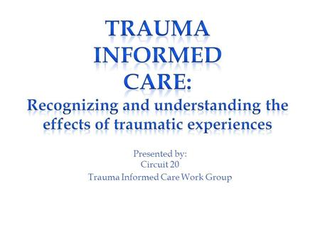 Presented by: Circuit 20 Trauma Informed Care Work Group.