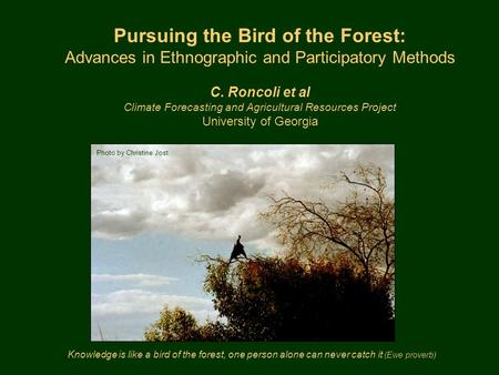 Knowledge is like a bird of the forest, one person alone can never catch it (Ewe proverb) Pursuing the Bird of the Forest: Advances in Ethnographic and.
