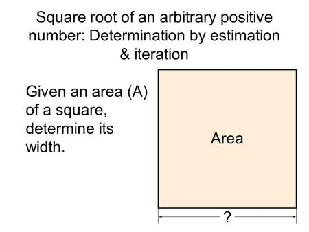Square root of an arbitrary positive number: Determination by estimation & iteration Given an area (A) of a square, determine its width. ? Area.